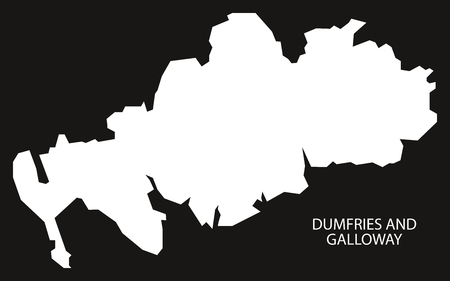 provinces: Dumfries and Galloway Scotland map black inverted silhouette illustration