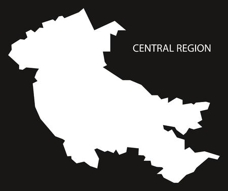 provinces: Central Region of Scotland map black inverted silhouette illustration
