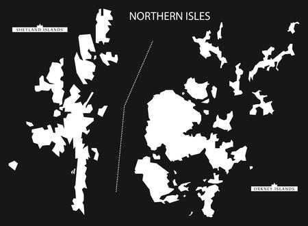 shetland: Northern Isles of Scotland map black inverted silhouette illustration Illustration