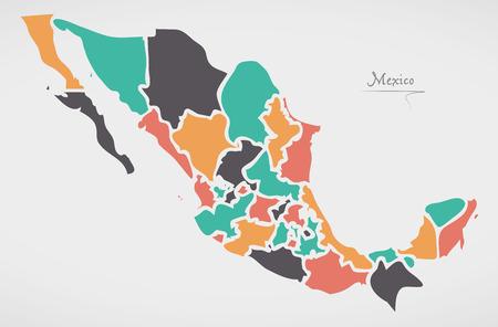 モダンなラウンド形状とメキシコの地図