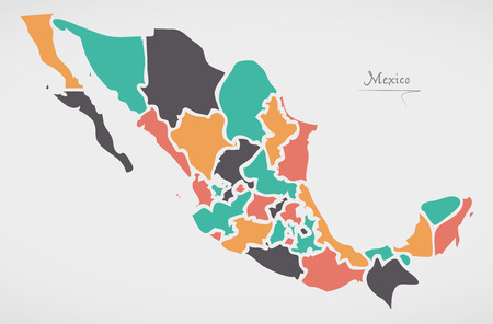 Mexican Map with states and modern round shapes Vettoriali
