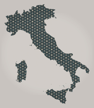 country: Italy map with stars and ornaments Stock Photo