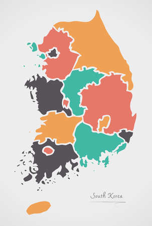 South Korea Map with states and modern round shapes Illustration