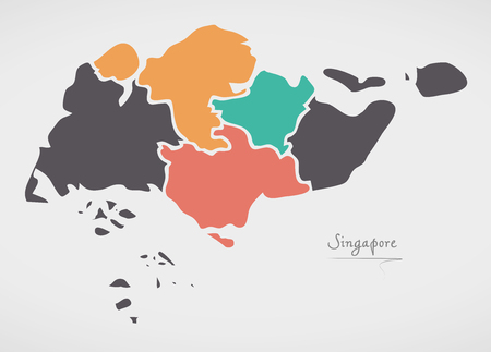 Mapa de Singapur con estados y formas redondas modernas