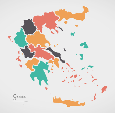 divisions: Greece Map with states and modern round shapes