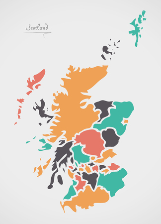 Scotland Map with states and modern round shapes Çizim