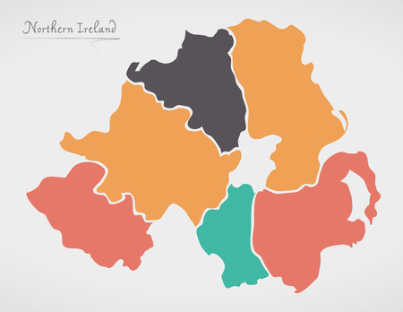 Northern Ireland Map with states and modern round shapes Çizim