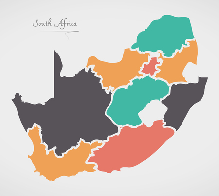 South Africa Map with states and modern round shapes Illustration