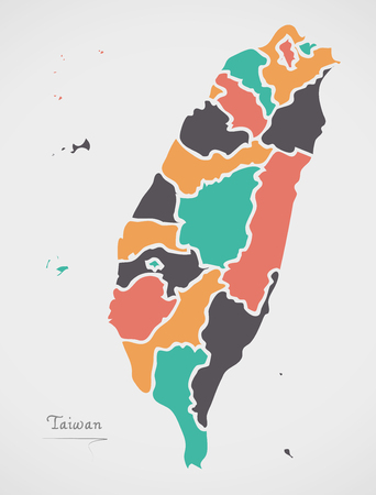Taiwan Map with states and modern round shapes