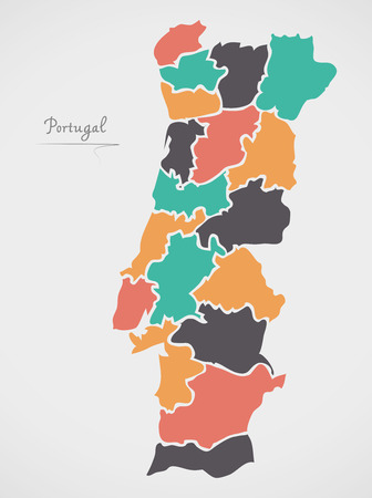 provinces: Portugal Map with states and modern round shapes Illustration