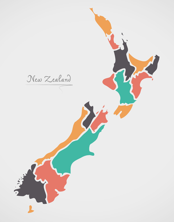 oceania: New Zealand Map with states and modern round shapes