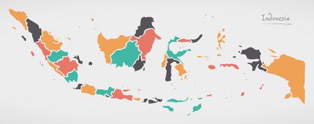 Carte de l'Indonésie avec des états et des formes rondes modernes