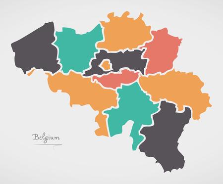 België Kaart met staten en moderne ronde vormen Vector Illustratie