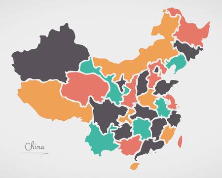 Carte de chine avec des états et des formes rondes modernes Banque d'images - 80784633