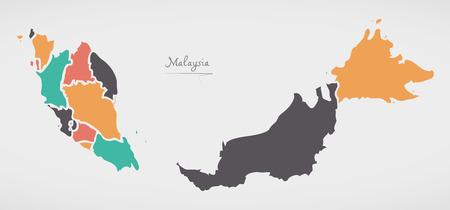 Maleisië kaart met staten en moderne ronde vormen