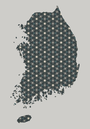 country: South Korea map with stars and ornaments