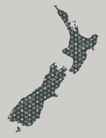 geographical: New Zealand map with stars and ornaments including borders Stock Photo