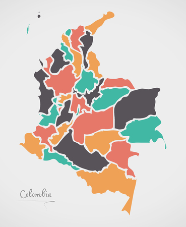 Colombia Map with states and modern round shapes Ilustrace
