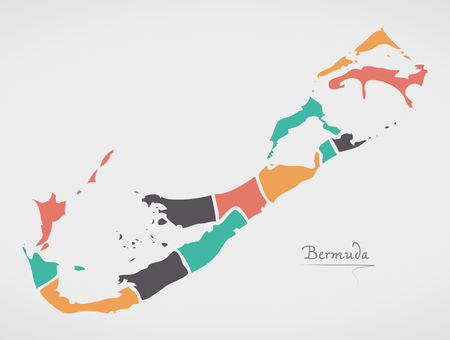 Bermuda Islands Map with states and modern round shapes Illustration