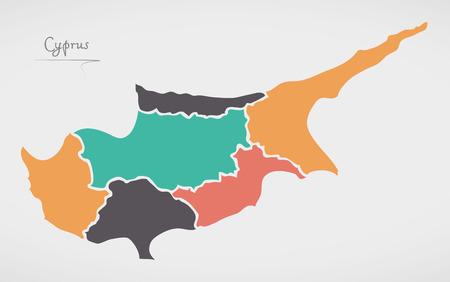 키프로스지도와 주와 현대 둥근 도형