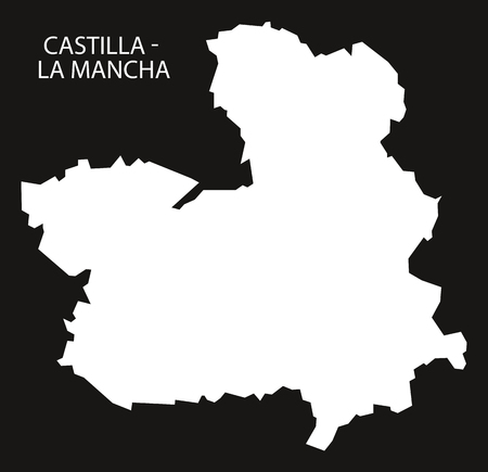 castilla: Castilla - La Mancha Spain map black inverted silhouette illustration. Illustration