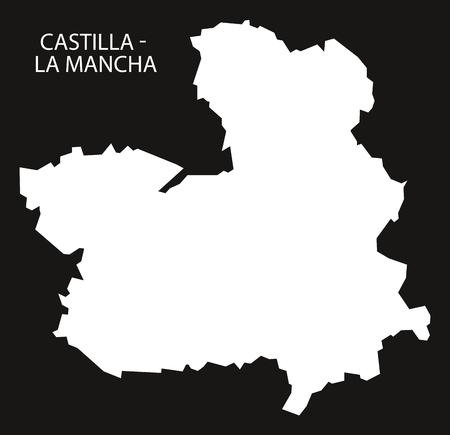 Castilla - La Mancha Spain map black inverted silhouette illustration. Ilustração