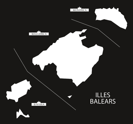 majorca: Illes Balears Spain map black inverted silhouette illustration.