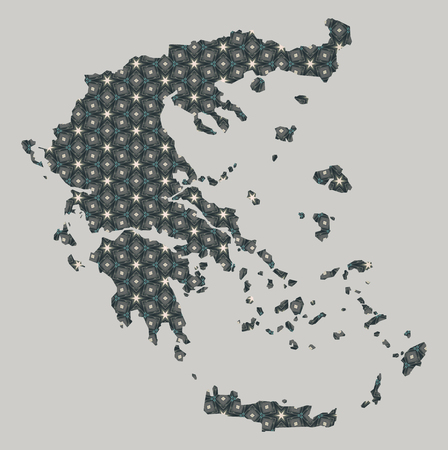 Greece map with stars and ornaments