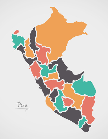 Peru Map with states and modern round shapes