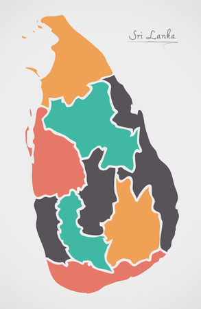 Sri Lanka Map with states and modern round shapes Illustration
