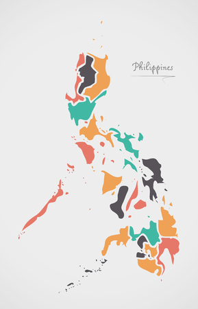 provinces: Philippines Map with states and modern round shapes
