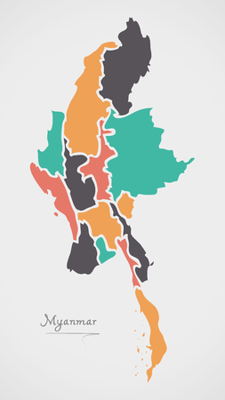 Myanmar Map with states and modern round shapes