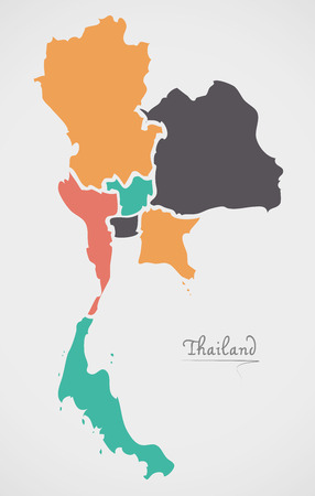 Thailand Map with states and modern round shapes