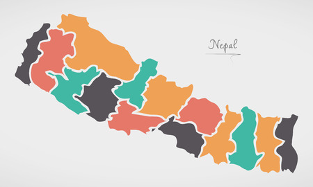 Nepal Map with states and modern round shapes