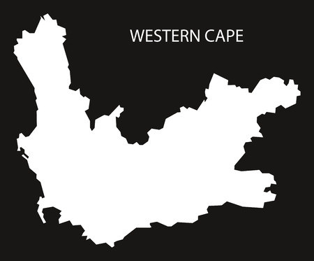 provinces: Western Cape of South Africa map black inverted silhouette illustration