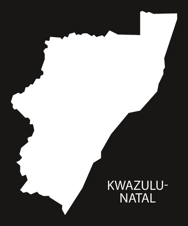 KwaZulu-Natal South Africa map black inverted silhouette illustration Illustration