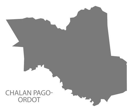 provinces: Chalan Pago - Ordot Guam map grey illustration silhouette Illustration