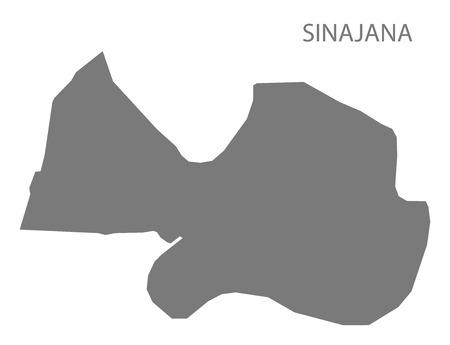 provinces: Sinajana Guam map grey illustration silhouette