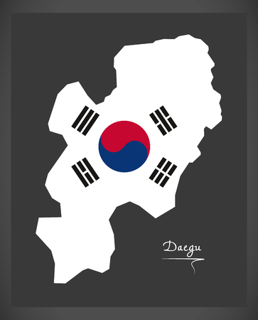 provinces: Daegu map with South Korean national flag illustration Illustration