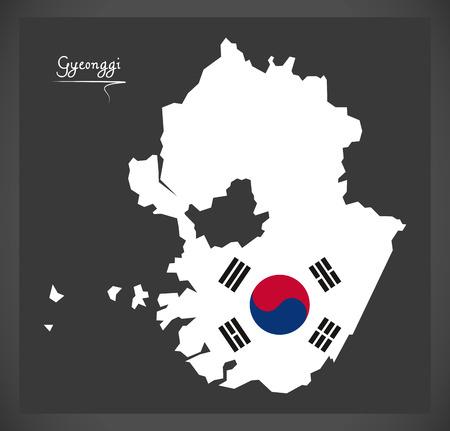 provinces: Gyeonggi map with South Korean national flag illustration