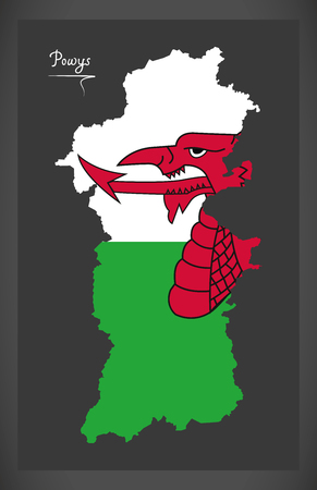 Powys Wales map with Welsh national flag illustration