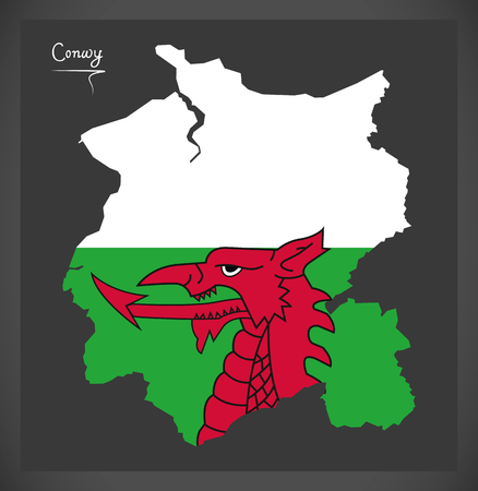 provinces: Conwy Wales map with Welsh national flag illustration Illustration