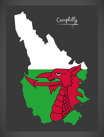 Caerphilly Wales map with Welsh national flag illustration