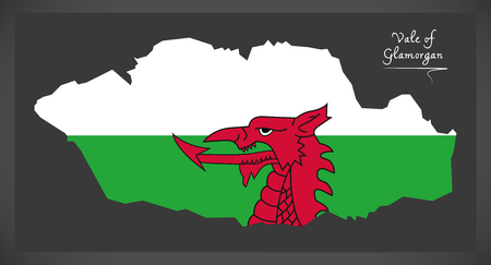provinces: Vale of Glamorgan Wales map with Welsh national flag illustration