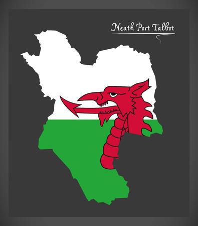 Mappa di Neath Port Talbot Galles con l'illustrazione della bandiera nazionale di Lingua gallese