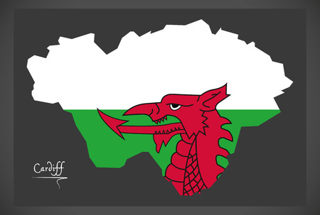Cardiff Wales map with Welsh national flag illustration