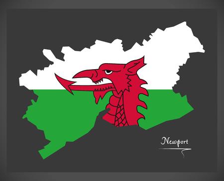 Mappa di Newport Galles con illustrazione bandiera nazionale gallese Vettoriali