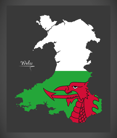 Wales map with Welsh national flag illustration Vettoriali