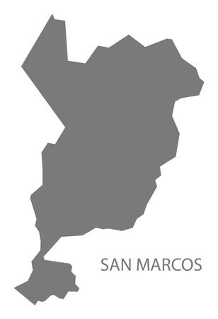 San Marcos Guatemala map grey illustration silhouette