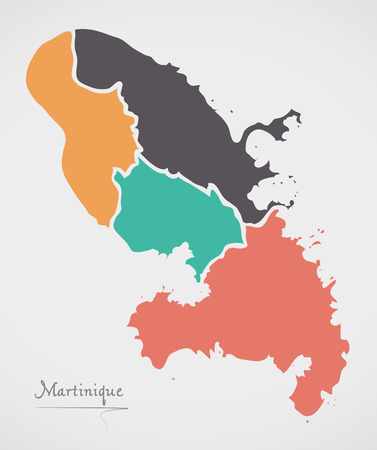 Martinique Map with states and modern round shapes